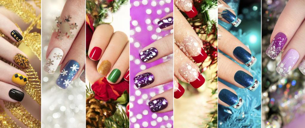 Разноцветный новогодний маникюр с зимним дизайном ногтей с блёстками,стразами на коротких и длинных женских ногтях.